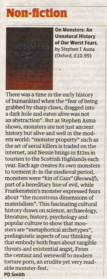 PD Smith, On Monsters, Guardian 22 Oct 2011