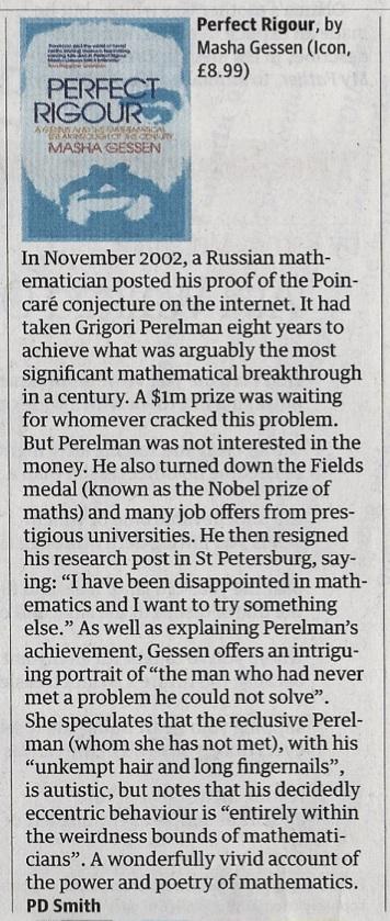 PD Smith, Perfect Rigour, Guardian 29 Oct 2011
