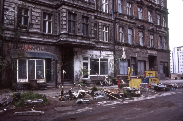 Dilapidated houses by the Berlin Wall, 1990. PD Smith